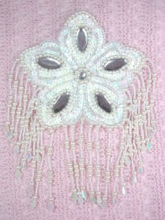 MA179 White AB Flower Jewel Sequin Beaded Dangle Epaulet Applique 8""
