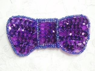"MA184Q Purple Sequin Beaded Hair Bow / Brooch / Applique 3"""