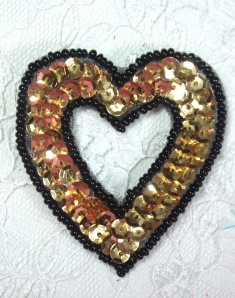 "MA184 Black & Gold Heart Sequin Beaded Hair Bow / Brooch / Applique  2"""