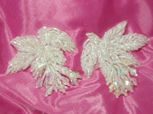 """MA192  Crystal Leaf Beaded Dangle Mirror Pair Appliques 2.5"""""""