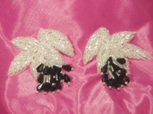 "MA192  Crystal Black Leaf Beaded Dangle Mirror Pair Appliques 2.5"""
