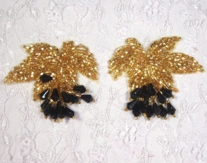 """MA192  Gold Black Leaf Beaded Dangle Mirror Pair Appliques or Earrings 2.5"""""""