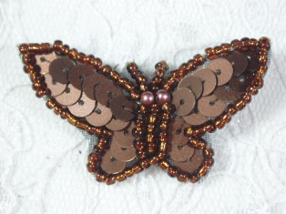 """MA216 Brown Sequin Beaded Butterfly Brooch / Hair Bow /  Applique 1.75"""""""