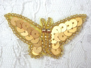 """MA216 Gold Sequin Beaded Butterfly Brooch / Hair Bow /  Applique 1.75"""""""