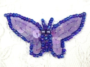 """MA216 Lavender AB Sequin Beaded Butterfly Brooch / Hair Bow /  Applique 1.75"""""""