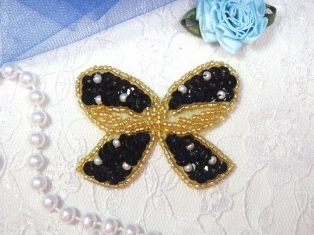 """MA250 Black & Gold Beaded Sequin Bow Brooch / Hair Bow / Applique 2"""""""