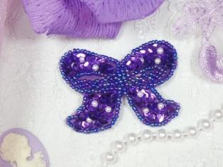 "MA250 Purple Beaded Sequin Bow Brooch / Hair Bow / Applique 2"""