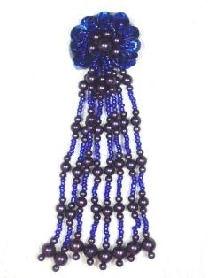 "MA253 Blue Beaded Sequin Dangle Applique 5.5"""