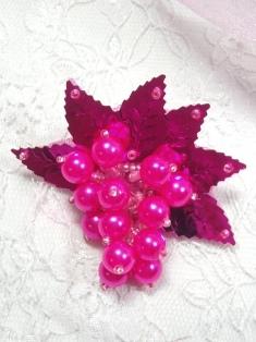 "MA269 Fuchsia Leaf Dangle Earring / Brooch / Hair Bow / Applique 2.5"""