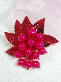 """MA269 Red Leaf Dangle Earring / Brooch / Hair Bow / Applique 2.5"""""""
