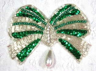 """MA337 Green & Silver Bow Sequin Beaded Dangle Hair Bow / Brooch / Applique 4.5"""""""