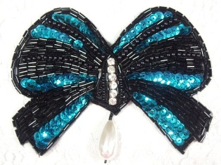 """MA337 Turquoise & Black Bow Sequin Beaded Dangle Hair Bow / Brooch / Applique 4.5"""""""