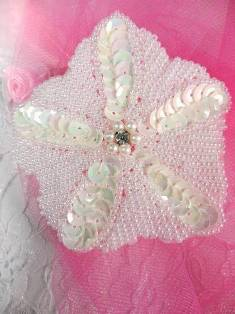 "MA340 White  AB Flower Beaded Sequin Applique  3"""