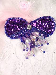 "MA361 Purple Bow Dangle Beaded  Sequin Applique 2.5"""