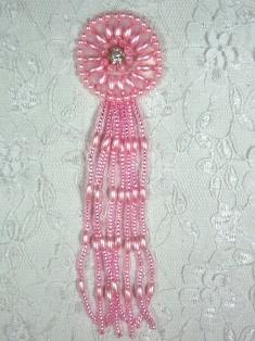 "MA298B Pink Dangle Beaded Rhinestone Applique 5"""