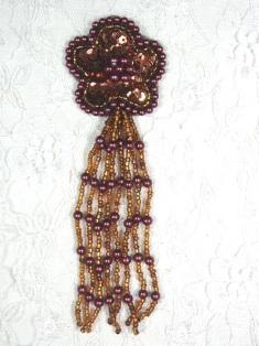 "MA42 Bronze Sequin Beaded Dangle Hair Bow / Brooch / Earrings / Applique 4.25"""