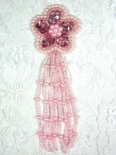 "MA42 Mauve Sequin Beaded Dangle Hair Bow / Brooch / Earrings / Applique 4.25"""