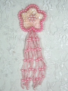 """MA42 Pink AB Sequin Beaded Dangle Hair Bow / Brooch / Earrings / Applique 4.25"""""""