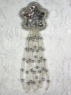 "MA42 Silver Sequin Beaded Dangle Hair Bow / Brooch / Earrings / Applique 4.25"""