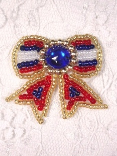 MA81B Patriotic Beaded Hair Bow / Brooch / Applique 1.5""