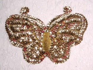 """MA61 Gold Sequin Beaded Butterfly Applique 7.5"""""""