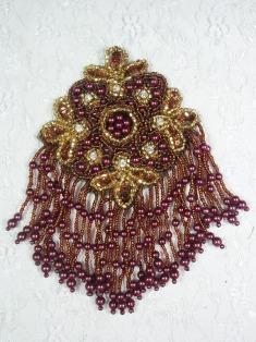 "MA65 Bronze & Gold Rhinestone Beaded Sequin Dangle Epaulet Hair Bow / Brooch / Applique 6"""