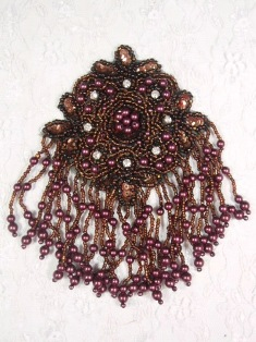 MA65 Bronze & Wine Rhinestone Beaded Sequin Dangle Epaulet Hair Bow / Brooch / Applique 6""