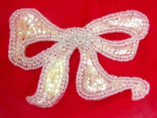 """MA80 Ivory Crystal AB Bow Sequin Beaded Applique 4"""""""