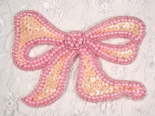 """MA80 Pink Opaque Bow Sequin Beaded Applique 4"""""""