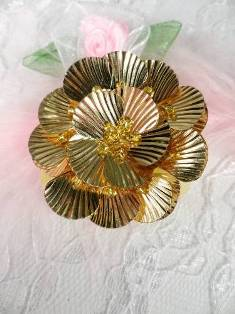 """MA84  Gold Flower Beaded Sequin Applique 1.5"""""""