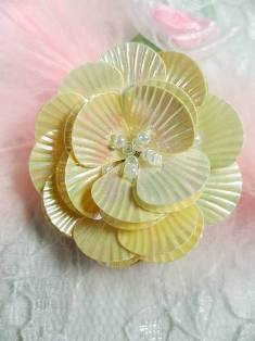 """MA84  Ivory AB Flower Beaded Sequin Applique 1.5"""""""