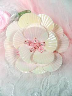 """MA84  Pink Flower Beaded Sequin Applique 1.5"""""""