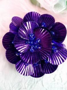 "MA84  Purple Flower Beaded Sequin Applique 1.5"""