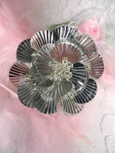 """MA84  Silver Flower Beaded Sequin Applique 1.5"""""""
