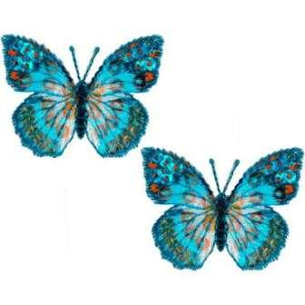 E102  Set of ( 2 ) Blue Butterfly Iron on Sequin Appliques 1.75""