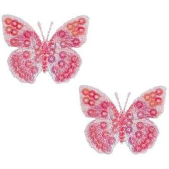 E102  Set of ( 2 ) Pink Butterfly Iron on Sequin Appliques 1.75""