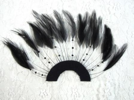 "MR003   Black Half Circle Feather Applique 8"""