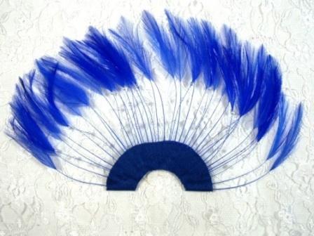 "MR003   Royal Blue Half Circle Feather Applique 8"""