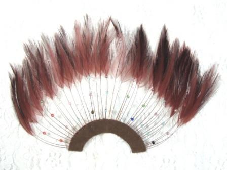 "MR003   Brown Half Circle Feather Applique 8"""