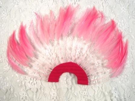"MR003   Pink Half Circle Feather Applique 8"""