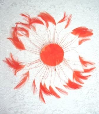 """MR004   Orange Circle Feather Applique 8"""""""