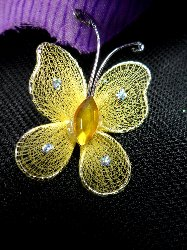 MR021 Choose Size Gold Organza Jewel Butterfly Embellishment