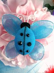 "MR026 Turquoise Organza Lady Bug Embellishment 2.75"""