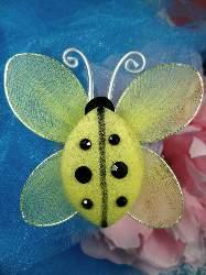"MR026 Yellow Organza Lady Bug Embellishment 2.75"""