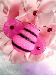 "MR027 Fuchsia Organza Bumble Bee Embellishment 2.5"""