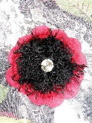 "FB58 Crystal Rhinestone Burgundy Floral Black Gimp Pin Brooch 3.5"""