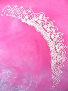 """MS100 Beige Venise Lace Victorian Yoke Collar Applique 8.5"""""""