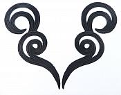"Black Shimmering Appliques Embroidered Scroll Mirror Pair Iron On Patch 7"" MS1203X"