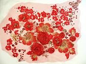 "Embroidered Lace Floral Applique Red and Gold Sequined 15"" (MS122)"