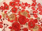 """Embroidered Lace Floral Applique Red and Gold Sequined 15"""" (MS122)"""